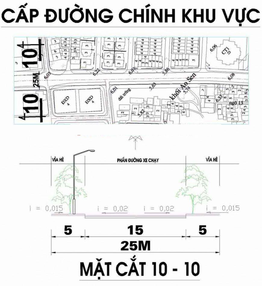 Ảnh Bản đồ quy hoạch tuyến đường cấp khu vực phường Mộ Lao