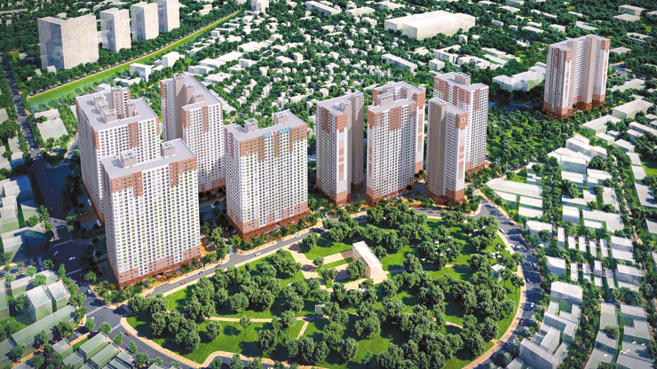 Seen above are Booyoung Group's new apartment buildings which will be built in Hanoi, Vietnam. The construction firm has begun to sell 756 apartments among 3,482 from Wednesday. / Courtesy of Booyoung Group