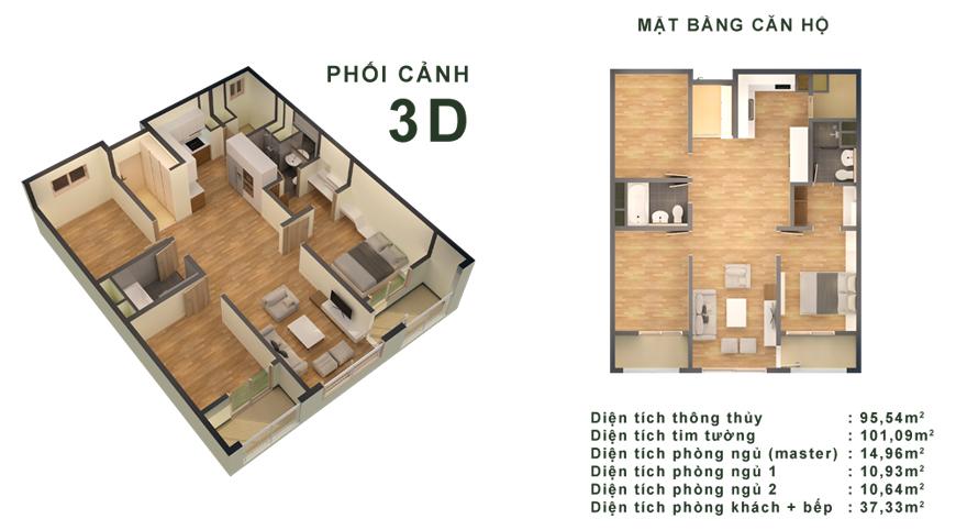 Phối cảnh 3D căn hộ 95,54m2 chung cư Booyoung Vina