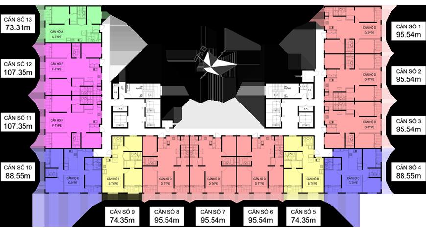 Mặt bằng căn hộ 95.54m2 Chung cư Booyoung Vina