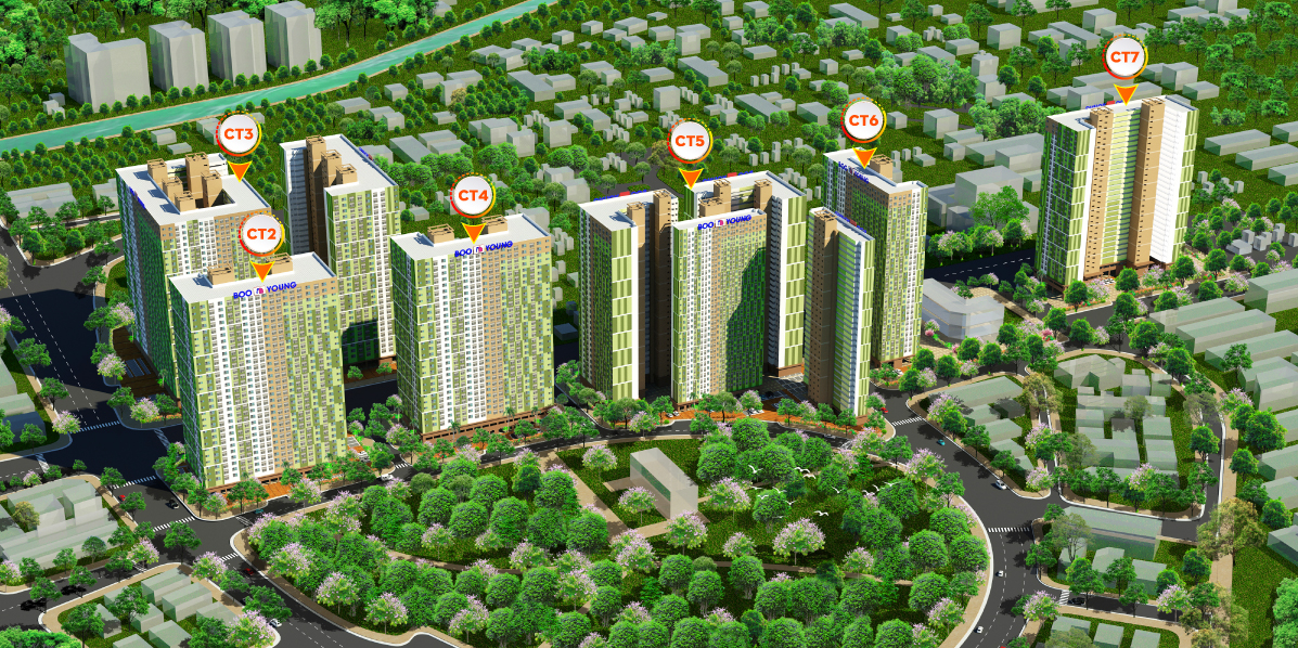 Phối cảnh tổng quan dự án và vị trí các tòa tại Booyoung Vina tại Mỗ Lao, Hà Đông, Hà Nội